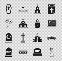 Set Flower In Vase, Hearse Car, Holy Bible Book, Church Building, Coffin With Cross And Burning Candle Icon. Vector