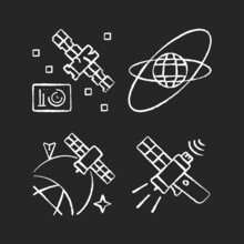 Satellites In Space Chalk White Icons Set On Dark Background. Science Spacecraft Location, Positioning In Space. Satellite Orbits, Trajectories. Isolated Vector Chalkboard Illustrations On Black