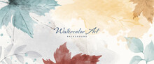 Watercolor Abstract Autumn Background With Maple And Seasonal Leaves