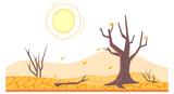 Drought in land or dry desert soil with dead trees
