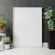 Blank Frame On The Wall With Plant
