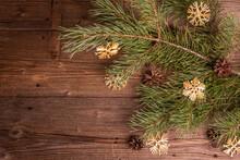 Christmas Festive Old Wooden Background. Zero Waste Christmas Decor Concept