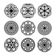 Simple Mandala Set For Coloring Book. For Beginner, Seniors And Children. Hand Draw. Vector Mandala. Floral. Flower. Oriental. Book Page. Decoration In Ethnic Oriental. Outline.