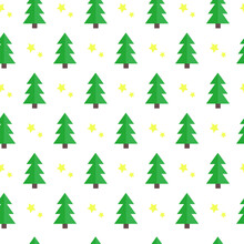 Seamless Christmas Pattern With Trees And Stars