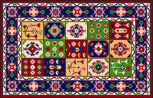 Persian Carpet Original Design, Tribal Vector Texture. Easy To Edit And Change A Few Global Colors By Swatch Window.