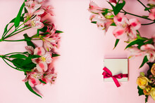 Alstroemeria Flower Flatly With Romantic Present Box . Beautiful Romantic Summer Flowers, Florist Shop Design. White Gift Box On Pink Banner With Burgundy Peruvian Lilies Bouquets.