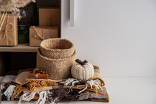 Concept Cozy Autumn Brown Colors. Jute Basket Crocheted, Knitted Poking, Cinnamon, Blanket.