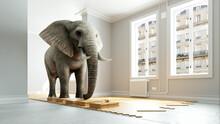 Belastbares Parkett Mit Schwerem Elefant Auf Dem Holz