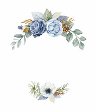 A Watercolor Vector Christmas Wreath With Dusty Blue Flowers And Branches.