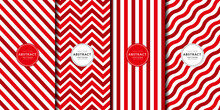 Red Christmas And Happy New Year Seamless Pattern Set. Zigzag, Line Stripes. Endless Texture For Wallpaper And Decorative Fabric. Xmas Digital Paper
