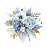 A watercolor vector Christmas bouquet with dusty blue flowers and branches.