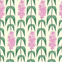 Buddleia Seamless Vector Pattern Background. Known As Butterfly Bush. Hand Drawn Clusters Of Pink Purple Petals On Tall Stems On Yellow Backdrop. Popular Garden Shrub Geometric Repeat. For Wellness