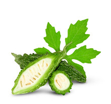 Bitter Gourd Or Bitter Melon ( Momordica Charantia ) Isolated On White Background. Clipping Path.