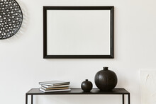 Minimalistic Stylish Composition Of Creative Room Interior Design With Mock Up Poster Frame, Metal Shelf And Personal Accesories. Black And White Concept. Template.