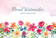 Hand Painted Watercolor Floral Background With Red And Orange Flowers