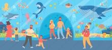Family In Oceanarium. Parents And Kids Look At Big Glass Aquarium With Ocean Fish And Sea Animals. Underwater Zoo Excursion Vector Concept