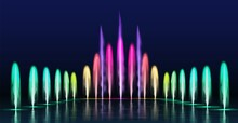 Fountains Show. Realistic Colored Dancing Water Jets In Night. Fountain Cascade With Lights For Park Decoration, 3d Aqua Sprays Vector Set