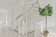 White Corridor With Stairway In Apartment