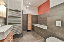 Stylish Bathroom Interior With Sink Bathtub And Toilet