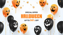 Halloween Special Offer Sale Vector Banner. Colorful Balloons With Funny Faces On White Background