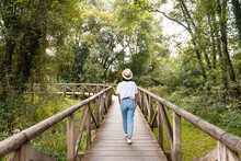 Woman Contemplating Green Trees From Footbridge In Summer