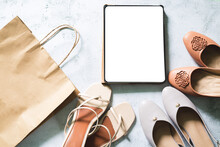 Mock Up Blank Empty Digital Tablet Screen On Beige Fashion Women Stylish Accessories With Tag Outfit Glamour Set Flat Lay Background, Online Pad Computer Shopping Technology Concept, Above Top View