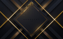 Abstract Black Background With Golden Glowing Stripes And Shimmering Glitters