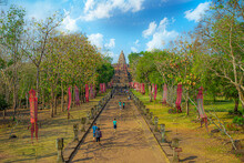 Tourists Walk Around Prasat Phanom Rung Historical Park, A Khmer-style Temple Building Built In The 10th-13th Centuries.