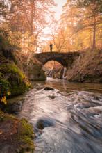 Man Standing On Bridge Over River In Autumn Park In Daytime