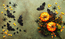 Happy Halloween Swamp Green Background With Pumpkins, Bats, Spiders, Candy Corn With Copy Space