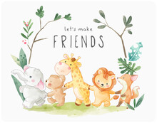 Let's Make Friends Slogan With Cute Cartoon Animals Holding Hand Illustration