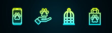 Set Line Veterinary Clinic, Hands With Animals Footprint, Cage For Birds And Shopping Bag Pet. Glowing Neon Icon. Vector