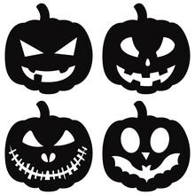 Halloween Pumpkins Set. Vector Black Jack-o-lanterns Isolated Set For Paper Cutting.