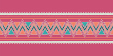 Tribal Ethnic Horizontal Border. Pink , Orange, Green And Grey Zigzags And Stripes. Pink Seamless Background With Herringbones.