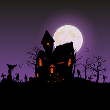 Halloween 2021. City Panorama In Halloween Style. Scary Halloween Isolated Background. Scary Hilltop Mansion. Vector Illustration.