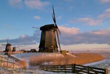 17th Century Windmills In Dutch Polder