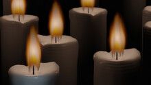 Candle Wick And Its Flame In Close Range With Mixed Blur Candle Group In Background (3D Rendering)