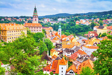 Summer Cityscape - Top View Of The Old Town Of Cesky Krumlov And The Vltava River Flowing Through It, Czech Republic