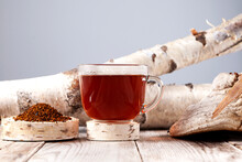 Cup Of Chaga Tea. Strong Antioxidant, Boosts Immune System, Has Detox Quality, Improves Digestive