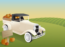 A Vintage Style Pickup Truck Loaded With Pumpkins Out On The Farm.