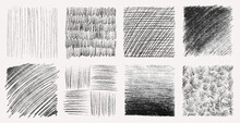 Sketch Pencil Texture Set. Pen Hatch Effect, Black Scribble Chalk, Grunge Freehand Vector. Handmade Pencil Lines, Strokes, Doodles And Scratches.