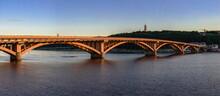 Kyiv Metro Bridge Across The Dnieper River On A Sunny Summer Evening.