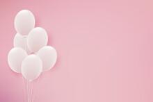 白い風船のピンク背景イラスト