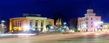 Illuminated Colchis Fountain In Georgian Kutaisi City At Spring Evening