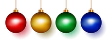 Set Of Round Shape Christmas Balls Hanging Isolated On White Background.Collection Of Bauble Realistic Balls Red, Gold, Green, And Blue Color Ornament Decor For Christmas, Festive.Vector Illustration.