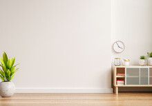 Mockup Of An Interior Wall In A Living Area With A Cabinet And An Empty White Wall Background.