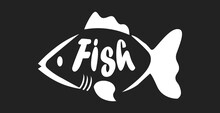 FISH Word Logo, Stylized As Fish Products - Vector