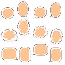 オレンジ色の吹き出し12種類のセット