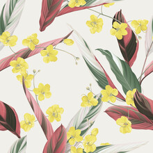 Floral Seamless Pattern, Golden Shower Flowers And Ctenanthe Oppenheimiana On Bright Brown