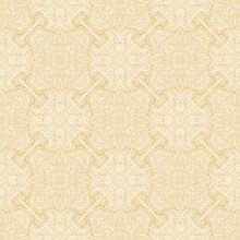 Seamless Yellow And White Pattern. Abstract Plant Motives. Seamless Texture.